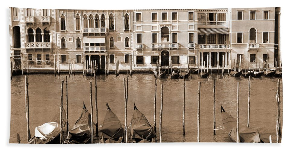 Venice Bath Sheet featuring the photograph Gondolas Outside Salute by Donna Corless