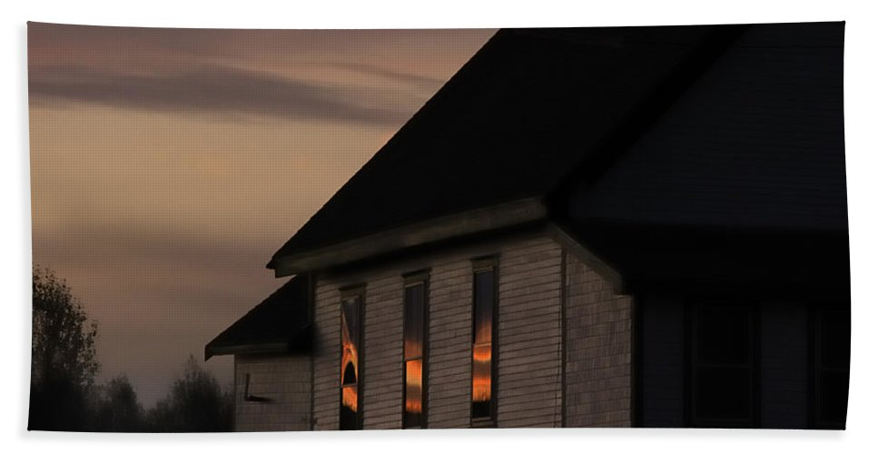 Architecture Bath Sheet featuring the photograph Good Morning Little Schoolhouse by Susan Capuano