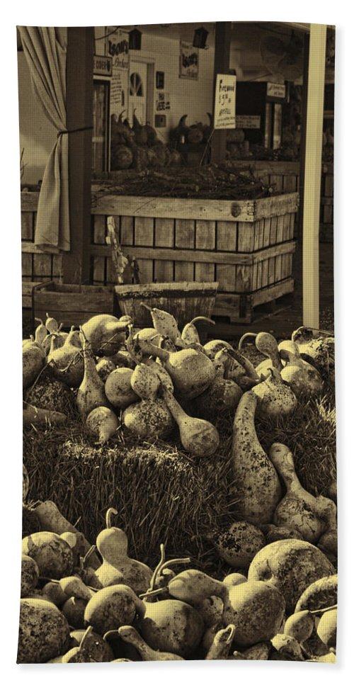 Gourds Bath Sheet featuring the photograph Gourds In Sepia Splendor by Kathy Clark