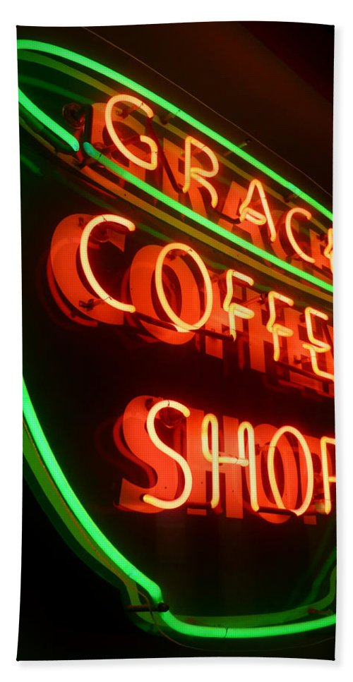 Grace Bath Sheet featuring the photograph Grace Coffee Shop Neon by Tim Nyberg