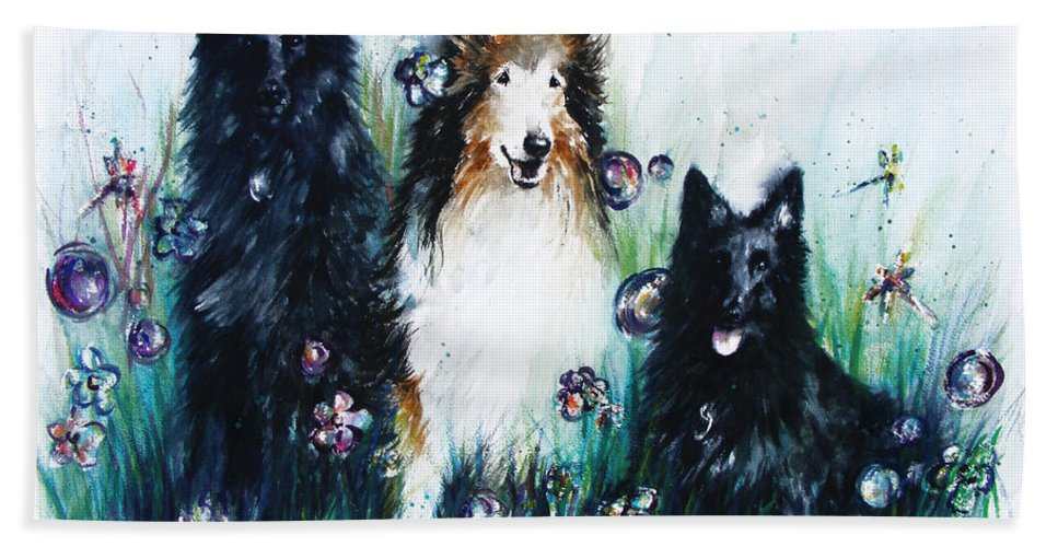 Dogs Hand Towel featuring the painting Gracie Abbey And Bella by Rachel Christine Nowicki