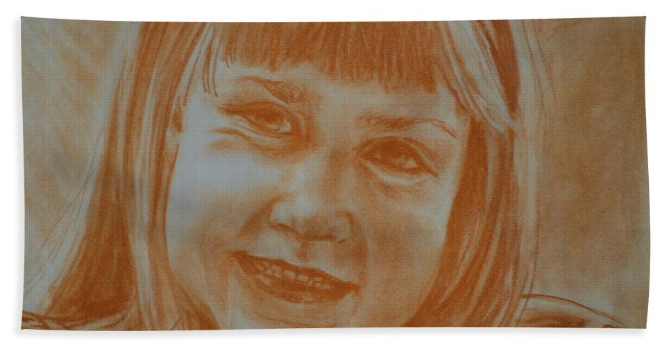 Self Portrait Bath Sheet featuring the drawing Grade One by Jennifer Christenson