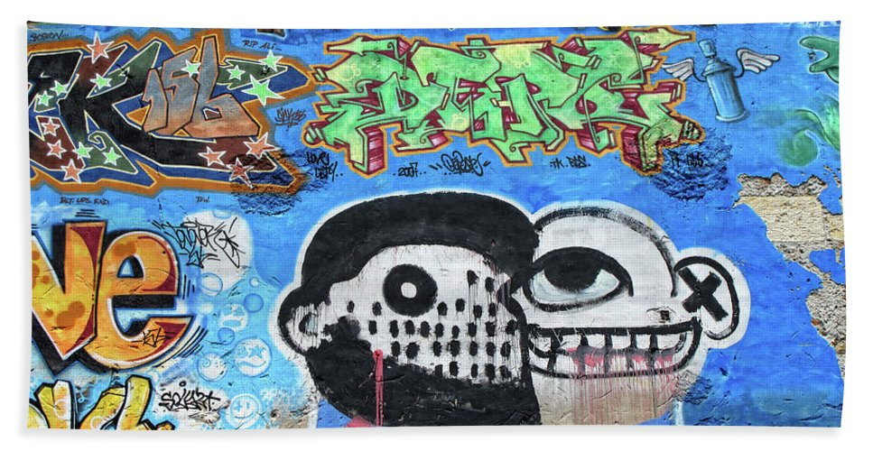 Graffiti Bath Sheet featuring the photograph Graffiti Provence France by Dave Mills