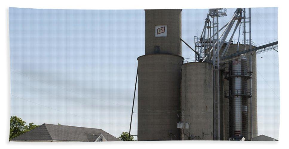 Grain Bin Bath Sheet featuring the photograph Grain Processing Facility In Shirley Illinois 3 by Alan Look