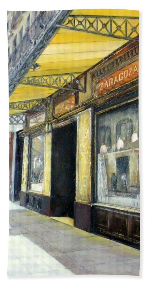 Coffee Bath Towel featuring the painting Gran cafe Zaragoza by Tomas Castano