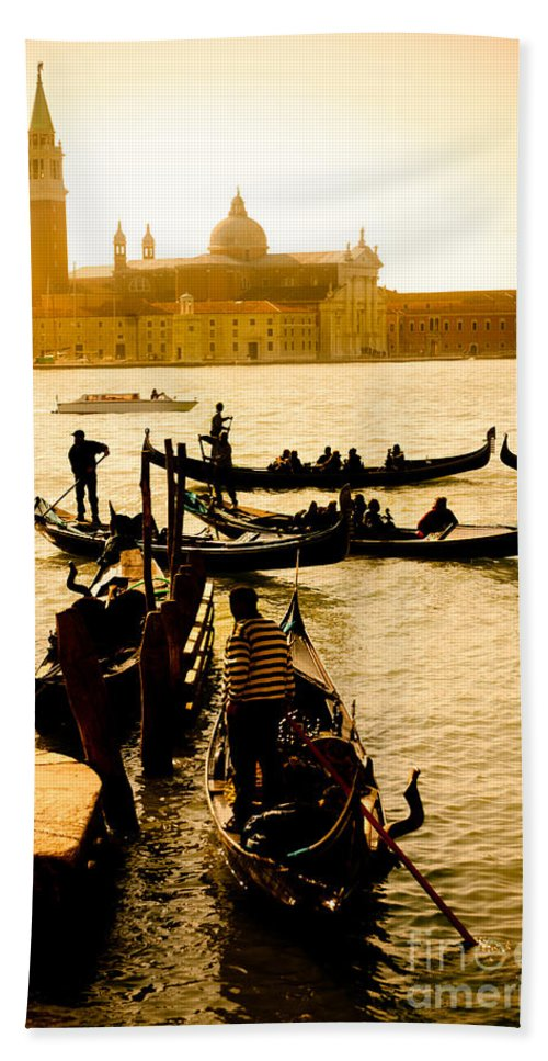 Adriatic Bath Sheet featuring the photograph Grand Canal At Sunset - Venice by Luciano Mortula