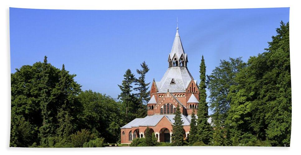 Chapel Bath Sheet featuring the photograph Grand Chapel In Central Cemetery Szczecin Poland by Teresa Zieba