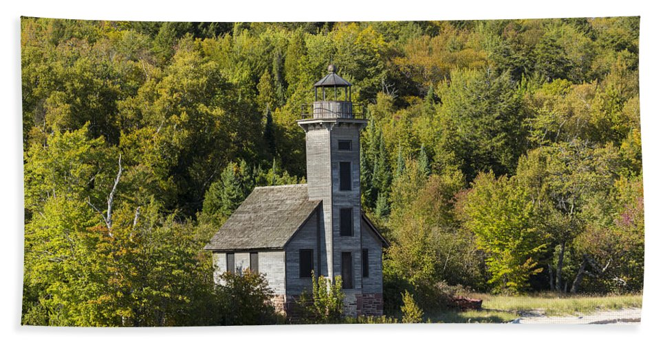 Grand Hand Towel featuring the photograph Grand Island E Channel Lighthouse 2 by John Brueske