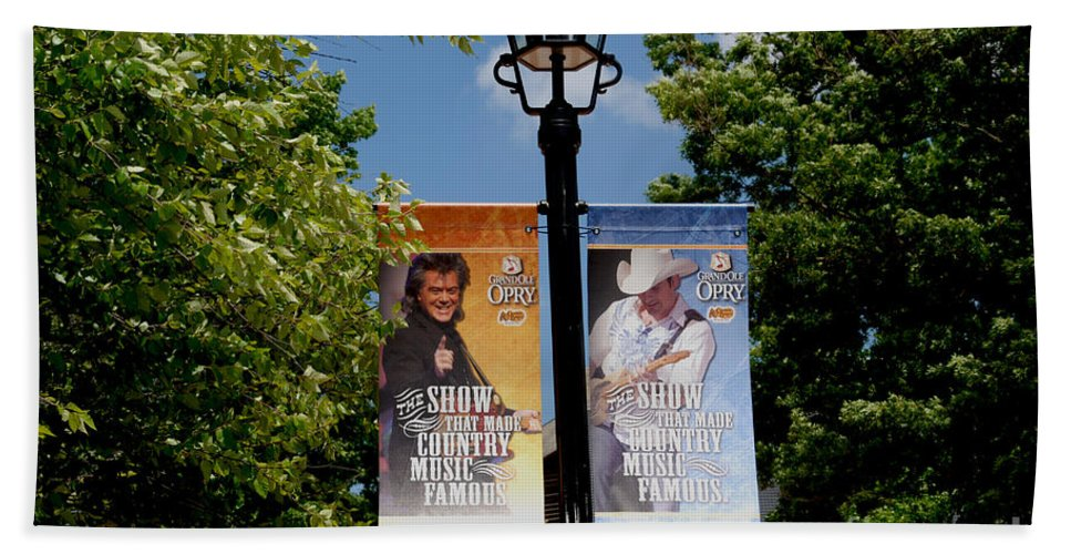 Grand Ole Opry Bath Sheet featuring the photograph Grand Ole Opry Flags Nashville by Susanne Van Hulst