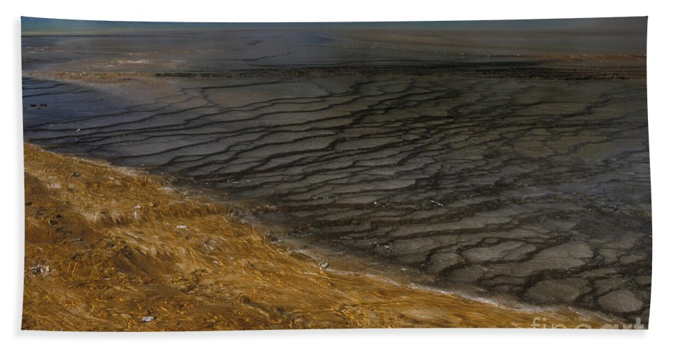 Yellowstone Hand Towel featuring the photograph Grand Prismatic Spring Runoff by Sandra Bronstein