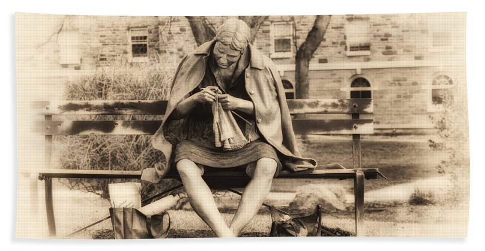 Granny Sitting On A Bench Knitting Ursinus College Bath Sheet featuring the photograph Granny Sitting On A Bench Knitting Ursinus College by Bill Cannon