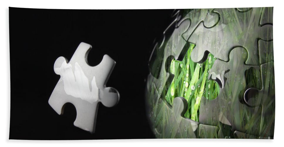 Global Hand Towel featuring the photograph Grass Jigsaw Globe by Simon Bratt Photography LRPS