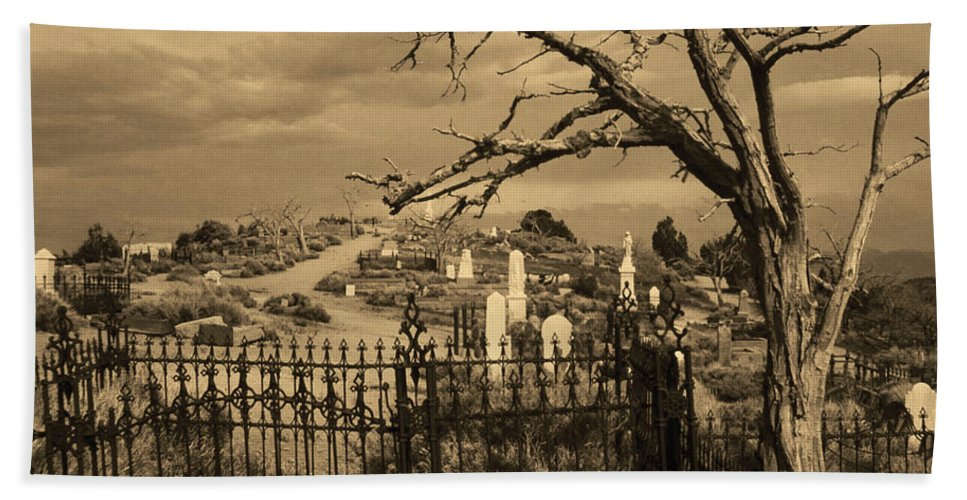 Ghosts Bath Sheet featuring the photograph Grave At Virginia City by Stephen Whalen