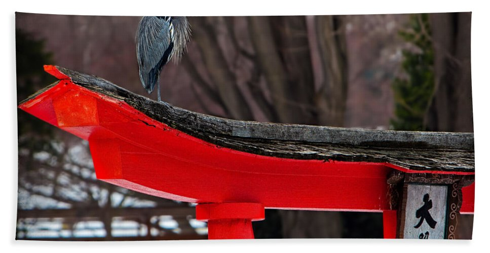 Bird Hand Towel featuring the photograph Great Blue Heron by Chris Lord