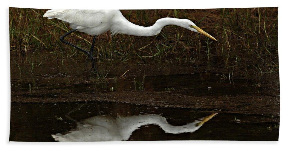 White Egret Hand Towel featuring the photograph Great Egret Reflection 2 by Bob Christopher