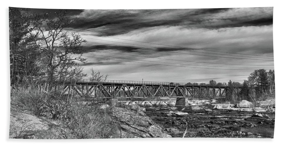 Androscoggin River Bridge Hand Towel featuring the photograph Great Falls Rr Bridge 10477b by Guy Whiteley