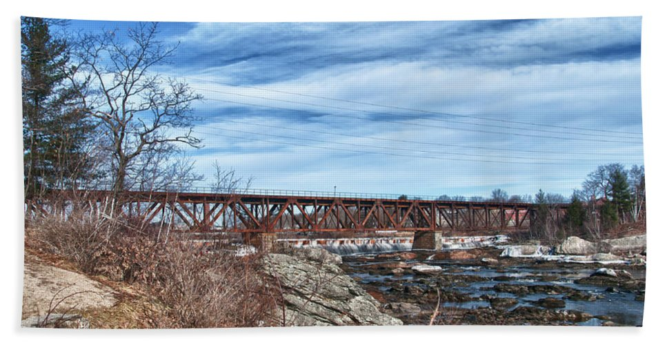 Androscoggin River Bridge Hand Towel featuring the photograph Great Falls Rr Bridge 10477c by Guy Whiteley