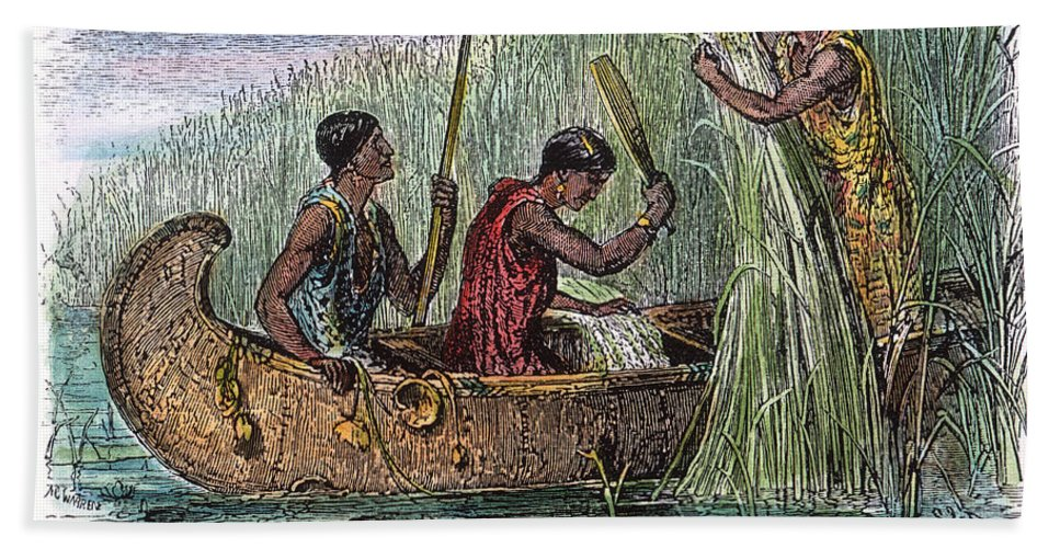 19th Century Hand Towel featuring the photograph Great Lakes: Canoe, 19th C by Granger