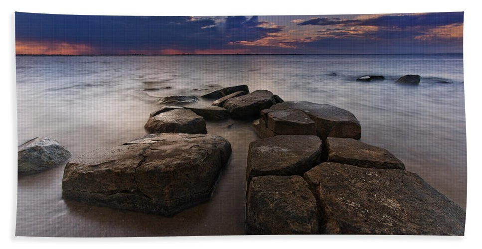Clouds Bath Sheet featuring the photograph Great South Bay Sunset by Rick Berk