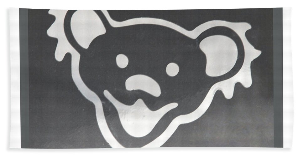 Greatful Dead Hand Towel featuring the photograph Greatful Dead Dancing Bear In Negative by Rob Hans