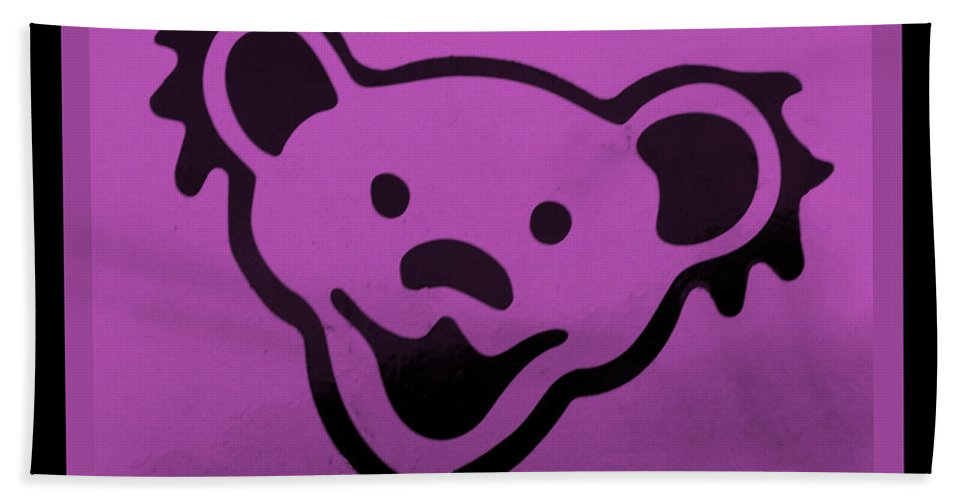 Greatful Dead Hand Towel featuring the photograph Greatful Dead Dancing Bear In Pink by Rob Hans