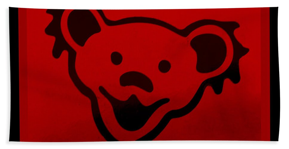 Greatful Dead Hand Towel featuring the photograph Greatful Dead Dancing Bear In Red by Rob Hans