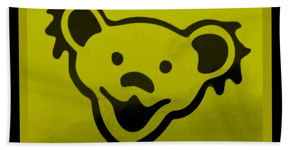 Greatful Dead Hand Towel featuring the photograph Greatful Dead Dancing Bear In Yellow by Rob Hans