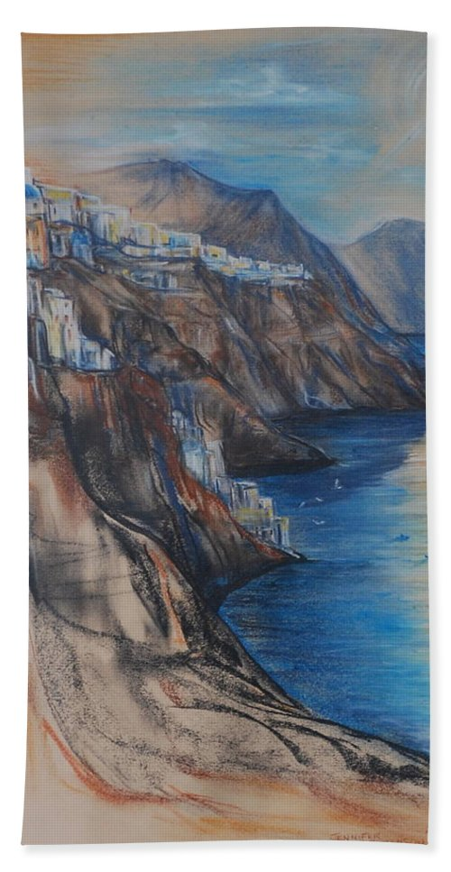 Greece Bath Sheet featuring the drawing Greek Coast by Jennifer Christenson