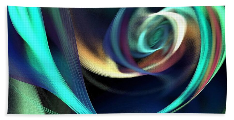 Abstract Hand Towel featuring the digital art Green And Blue Lines by Klara Acel