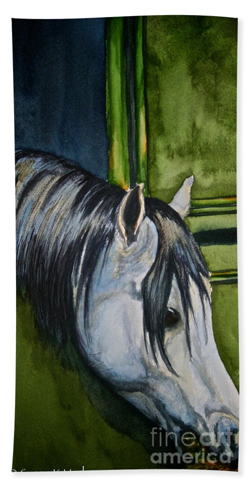 Barn Bath Sheet featuring the painting Green Barn by Susan Herber