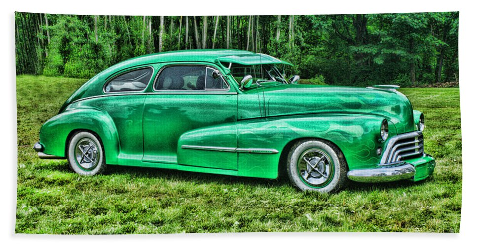Cars Hand Towel featuring the photograph Green Classic Hdr by Randy Harris