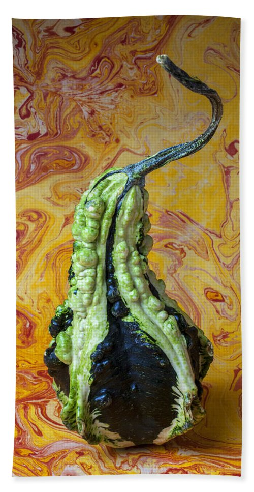 Green Hand Towel featuring the photograph Green Gourd by Garry Gay