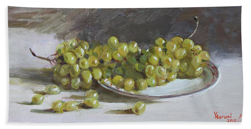 Grapes Bath Sheet featuring the painting Green Grapes by Ylli Haruni