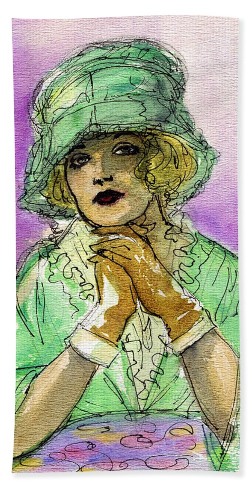 Nostalgia Hand Towel featuring the drawing Green Hat by Mel Thompson