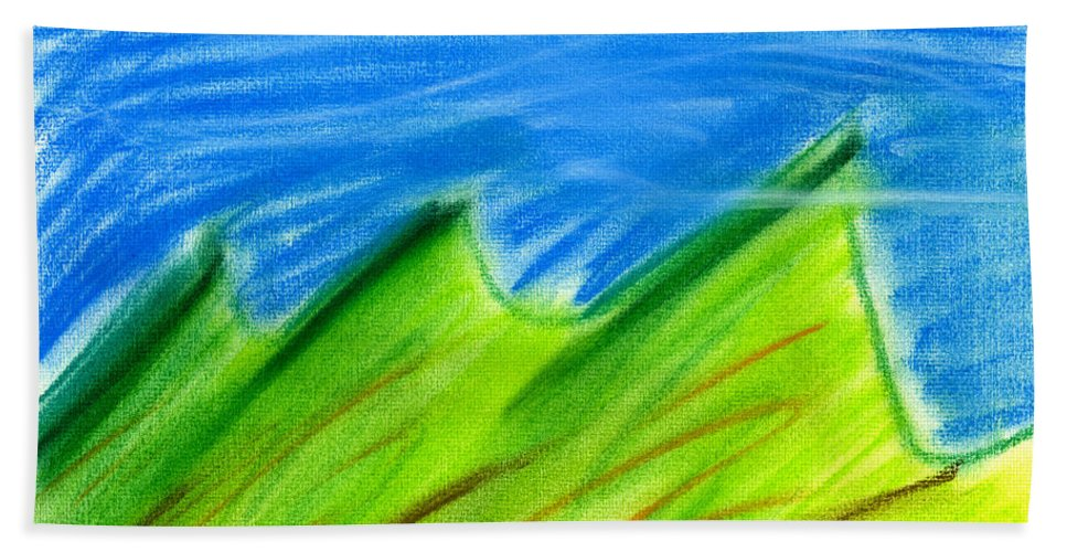 Pastel Hand Towel featuring the painting Green Hills by Hakon Soreide