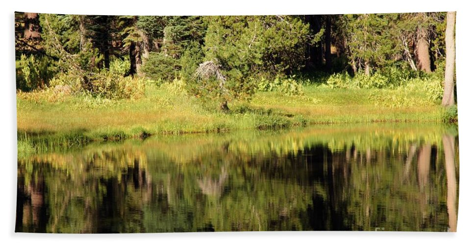 Summit Lake Bath Sheet featuring the photograph Green In Summit Lake by Adam Jewell