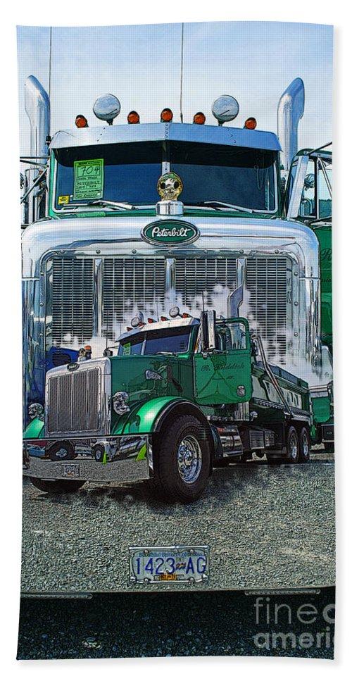 Trucks Bath Sheet featuring the photograph Green Peterbilt Dbl. Exposure by Randy Harris