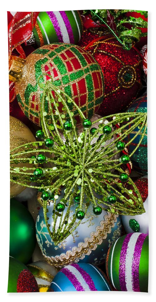 Green Star Colorful Ornaments Bath Sheet featuring the photograph Green Star Christmas Ornament by Garry Gay