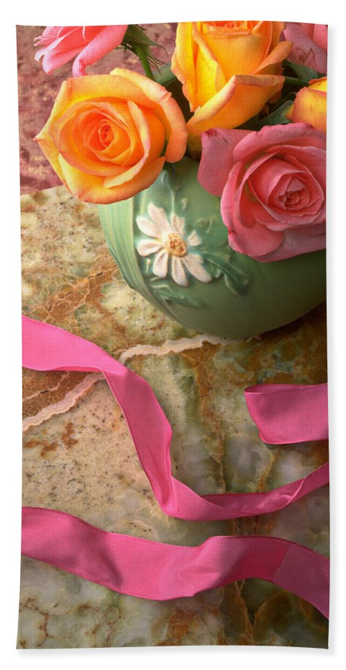 Rose Roses Vase Flower Still Life Pink Ribbon Bath Sheet featuring the photograph Green Vase With Roses by Garry Gay