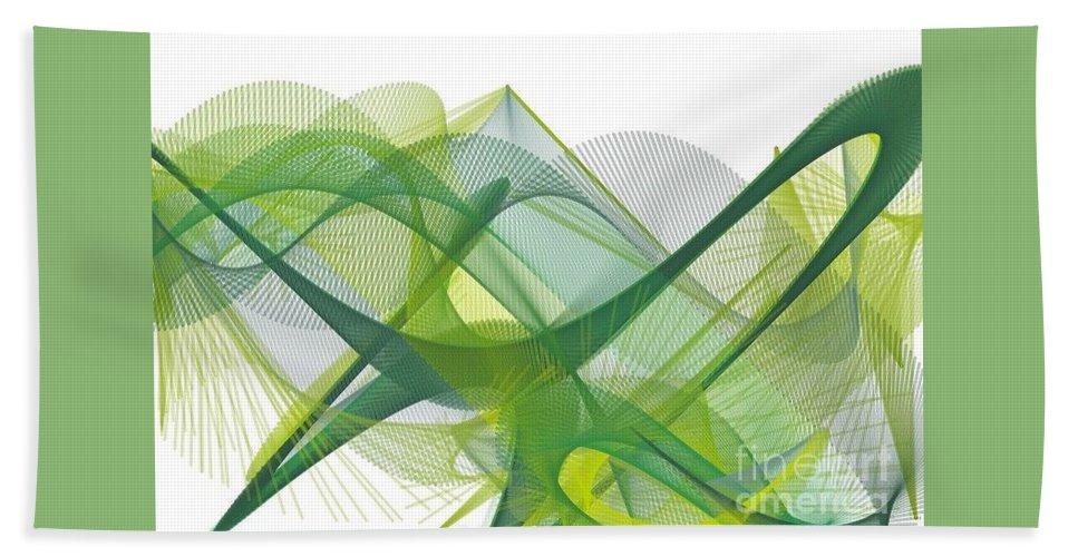 Hand Towel featuring the digital art Green Waves by Sonali Gangane