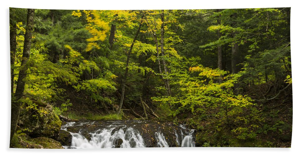 Greenstone Hand Towel featuring the photograph Greenstone Falls 4 by John Brueske