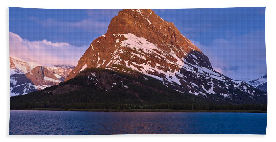 Many Glacier Bath Sheet featuring the photograph Grinnel Point At First Light by Greg Nyquist