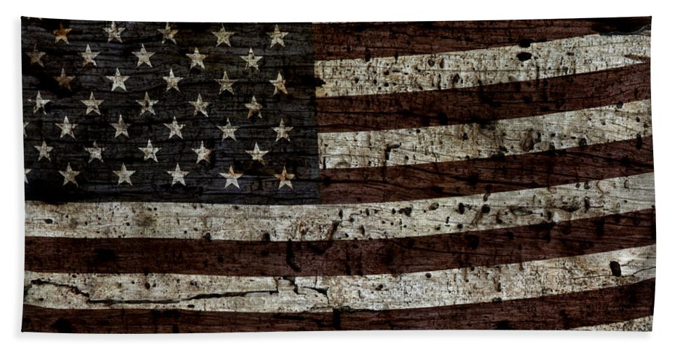 Usa Bath Sheet featuring the photograph Grungy Wooden Textured Usa Flag2 by John Stephens