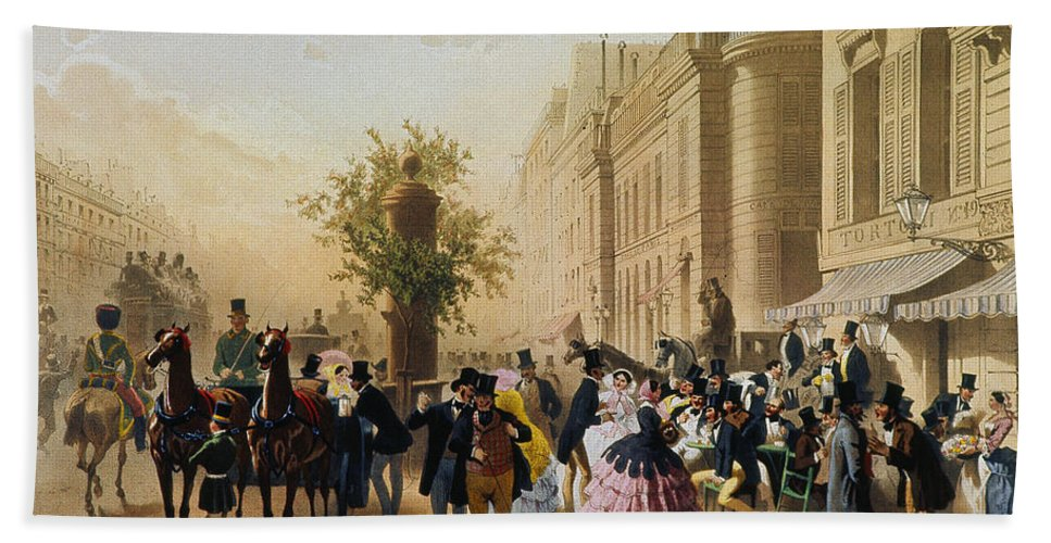 1856 Bath Sheet featuring the photograph Guerard: Cafe Tortoni, 1856 by Granger