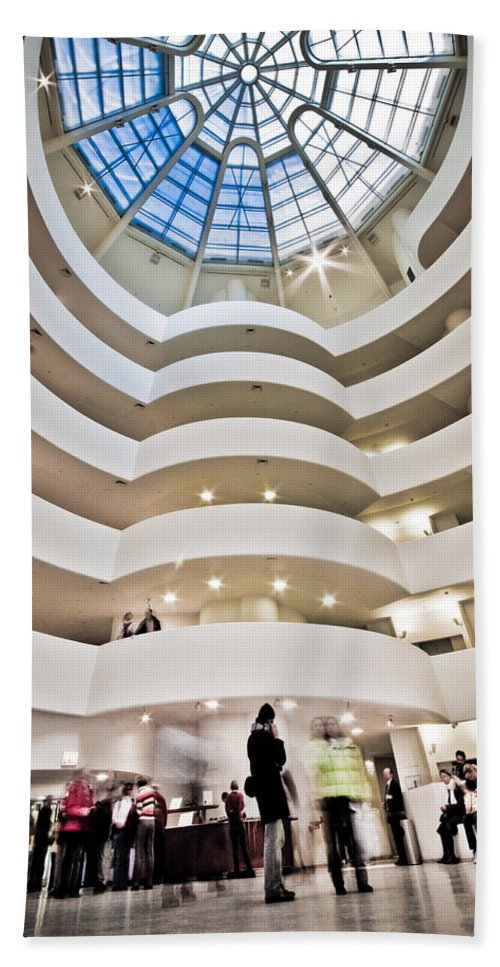 Abstract Bath Sheet featuring the photograph Guggenheim 1 by Sean Wray