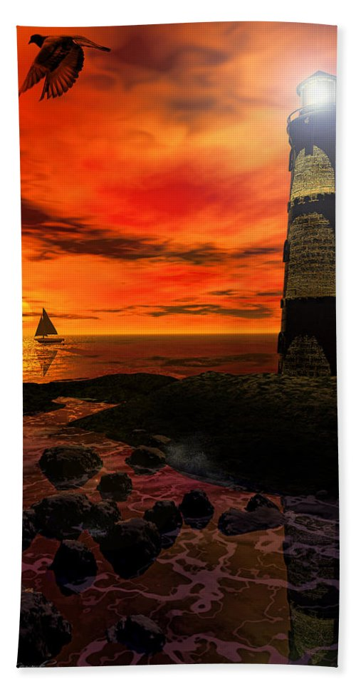 Lighthouse Hand Towel featuring the photograph Guiding Light - Lighthouse Art by Lourry Legarde