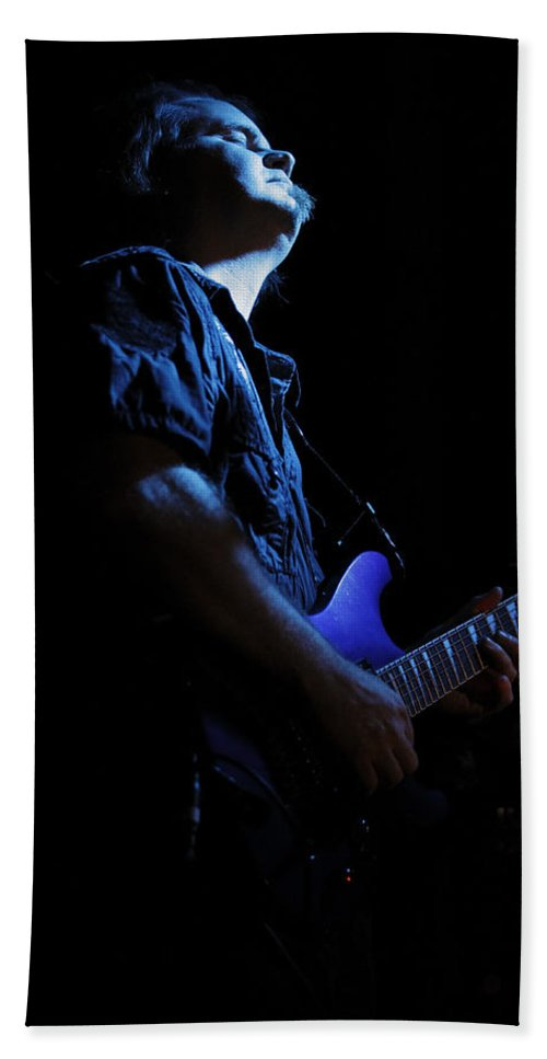 Shadow Gallery Hand Towel featuring the photograph Guitarist In Blue by Rick Berk