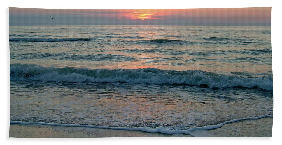 Gulls Hand Towel featuring the photograph Gulls At Sunset On The Gulf by Susan Wyman