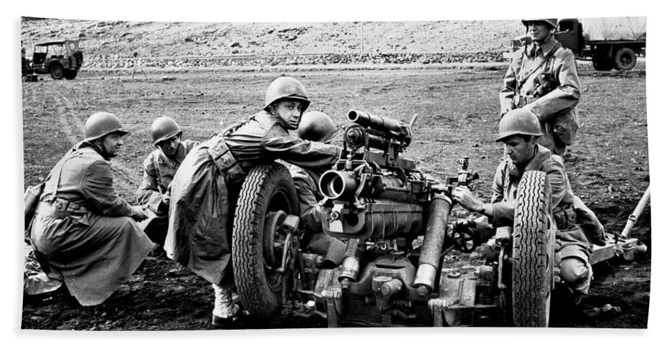 War Hand Towel featuring the photograph Gun Crew Prepares To Fire A 37mm by Stocktrek Images