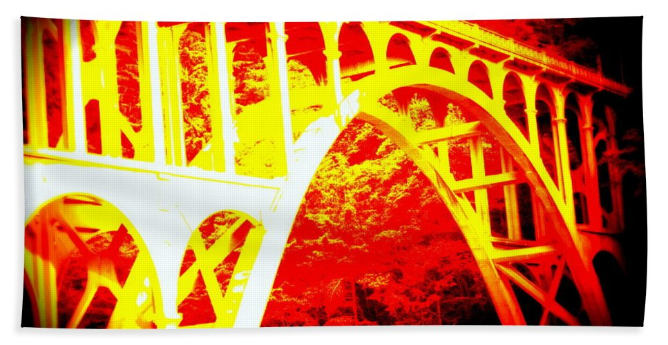 Coast Hand Towel featuring the photograph Haceta Head Bridge In Abstract by Kathy Sampson